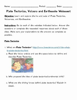 Plate Tectonics Worksheet Answer Key Awesome Plate Tectonics Volcano and Earthquake Webquest by