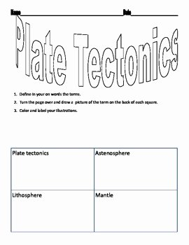 Plate Tectonics Worksheet Answer Key Best Of Plate Tectonics Vocabulary Worksheet by Jennifer Jordan