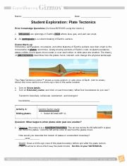 Plate Tectonics Worksheet Answer Key Elegant Plate Tectonics Gizmo Name Date Student Exploration