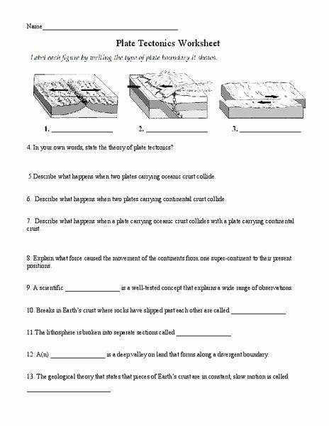 Plate Tectonics Worksheet Answers Elegant Plate Tectonics Worksheet for 6th 8th Grade