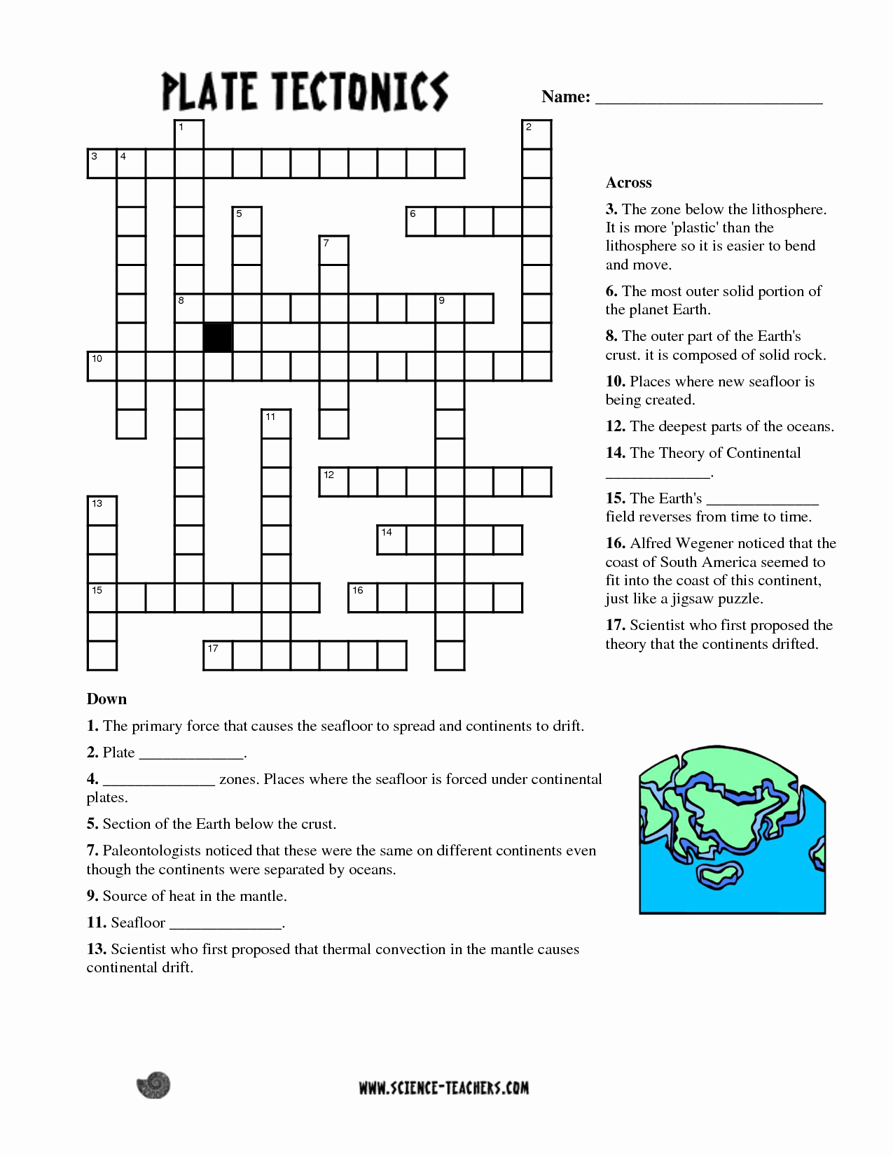Plate Tectonics Worksheet Answers New Planets Crossword Puzzle Worksheet Pics About Space