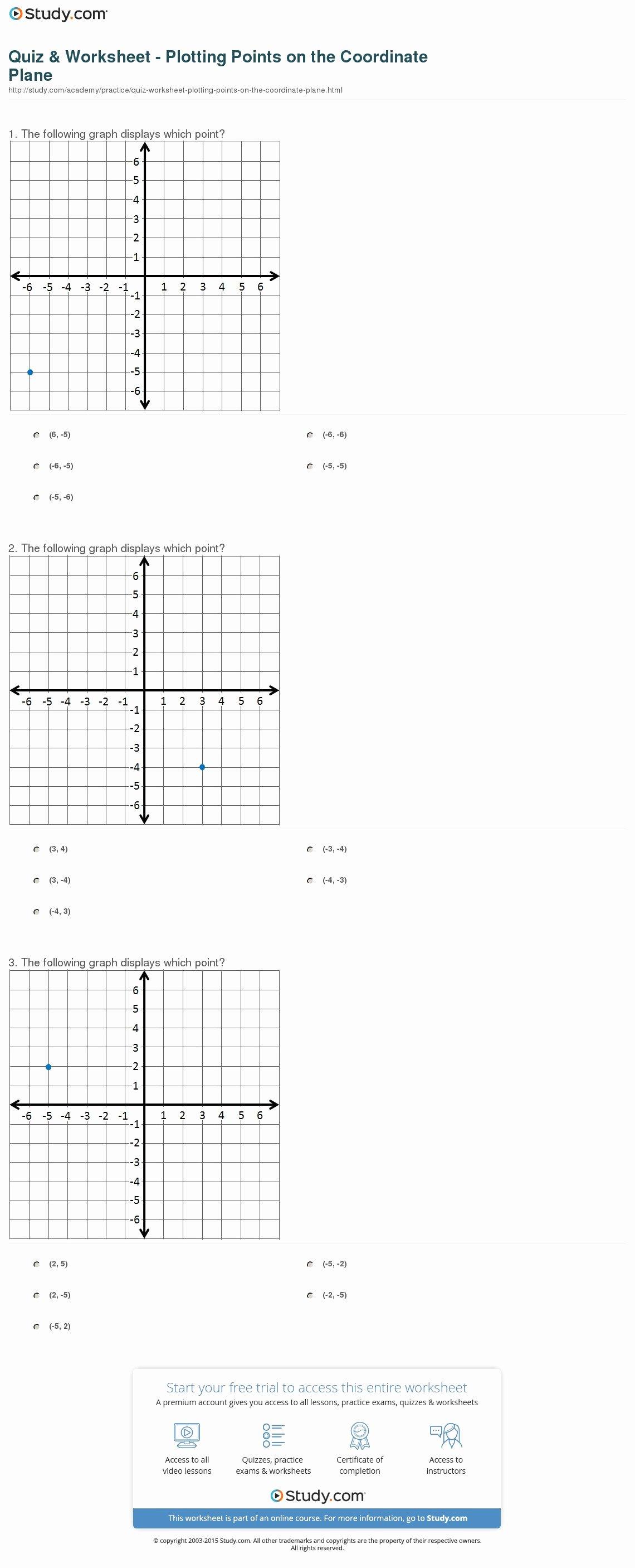 Plotting Points Worksheet Pdf Best Of Quiz & Worksheet Plotting Points On the Coordinate Plane
