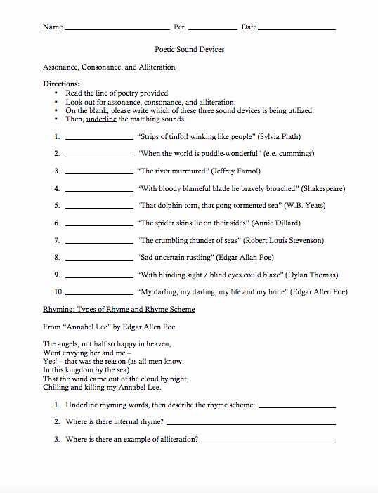 Poetic Devices Worksheet 1 Beautiful Poetic sound Devices Worksheet for 9th 12th Grade