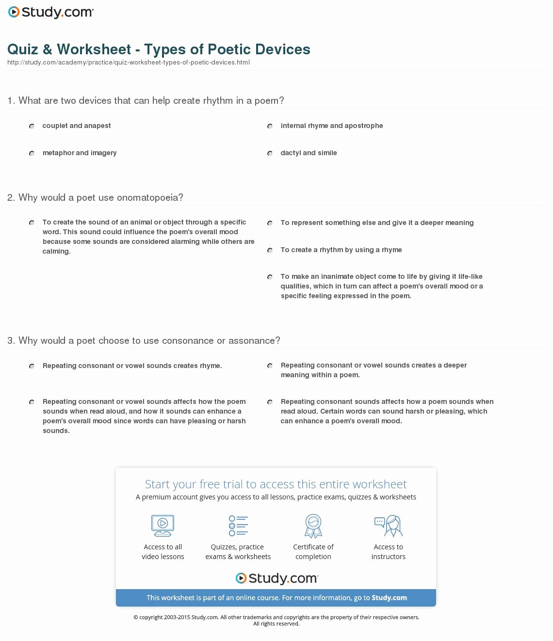 Poetic Devices Worksheet 1 Beautiful Quiz & Worksheet Types Of Poetic Devices