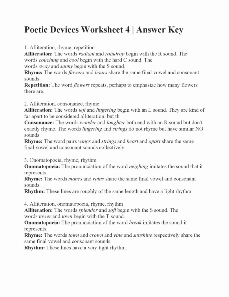 Poetic Devices Worksheet 1 Inspirational Awesome Poetic Devices Worksheet Answers Part Of top 3