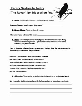 Poetic Devices Worksheet 1 New Edgar Allen Poe S the Raven Literary Devices Worksheet