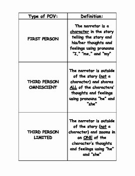 Point Of View Worksheet 11 Best Of Point Of View Definitions & Flipbook Activity by Monica