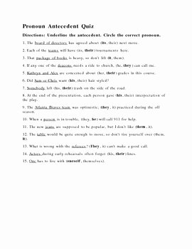 Point Of View Worksheet 11 Fresh Antecedent Worksheet or Quiz with Answer Key by Higg