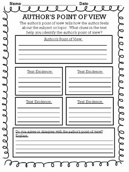 Point Of View Worksheet 11 Unique Author S Point Of View Graphic organizer by Pencil with A