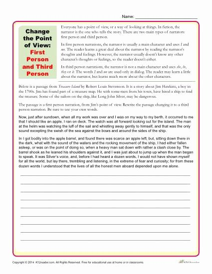 Point Of View Worksheet Beautiful Change the Point Of View Worksheet