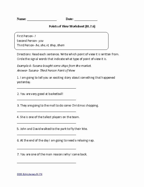 Point Of View Worksheet Beautiful Points Of View Worksheet Ela Literacy Ri 7 6 Reading