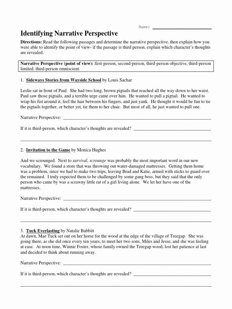 Point Of View Worksheet Best Of Point Of View Worksheet 1 Pdf Doc