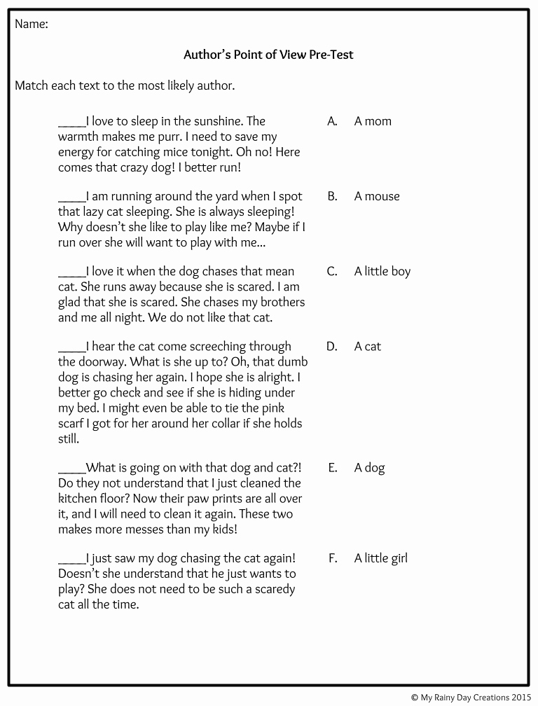 Point Of View Worksheet Inspirational 53 Point View Worksheets 5th Grade 1000 About