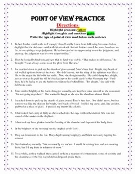 Point Of View Worksheet Inspirational Identifying Point Of View Practice Worksheets by