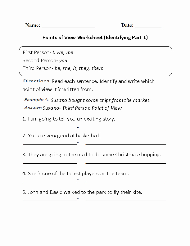 Point Of View Worksheet New Englishlinx