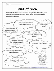 Point Of View Worksheet Unique Point Of View 3rd Grade Worksheet