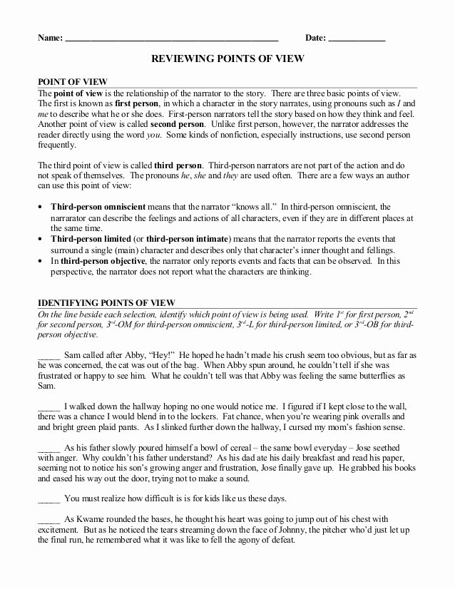 Point Of View Worksheet Unique Point Of View Review Worksheet