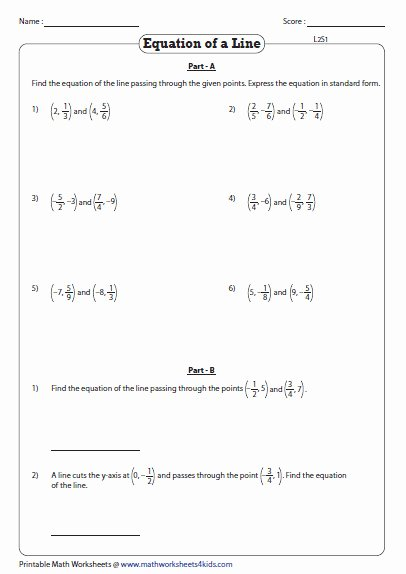 Point Slope form Practice Worksheet Awesome Point Slope form Worksheet