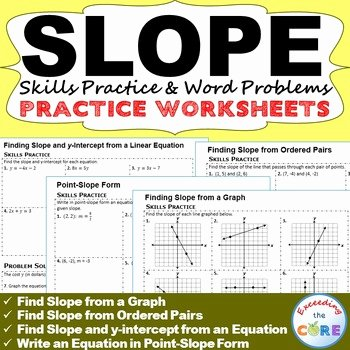 Point Slope form Practice Worksheet Awesome Slope & Y Intercept Homework Worksheets Skills Practice