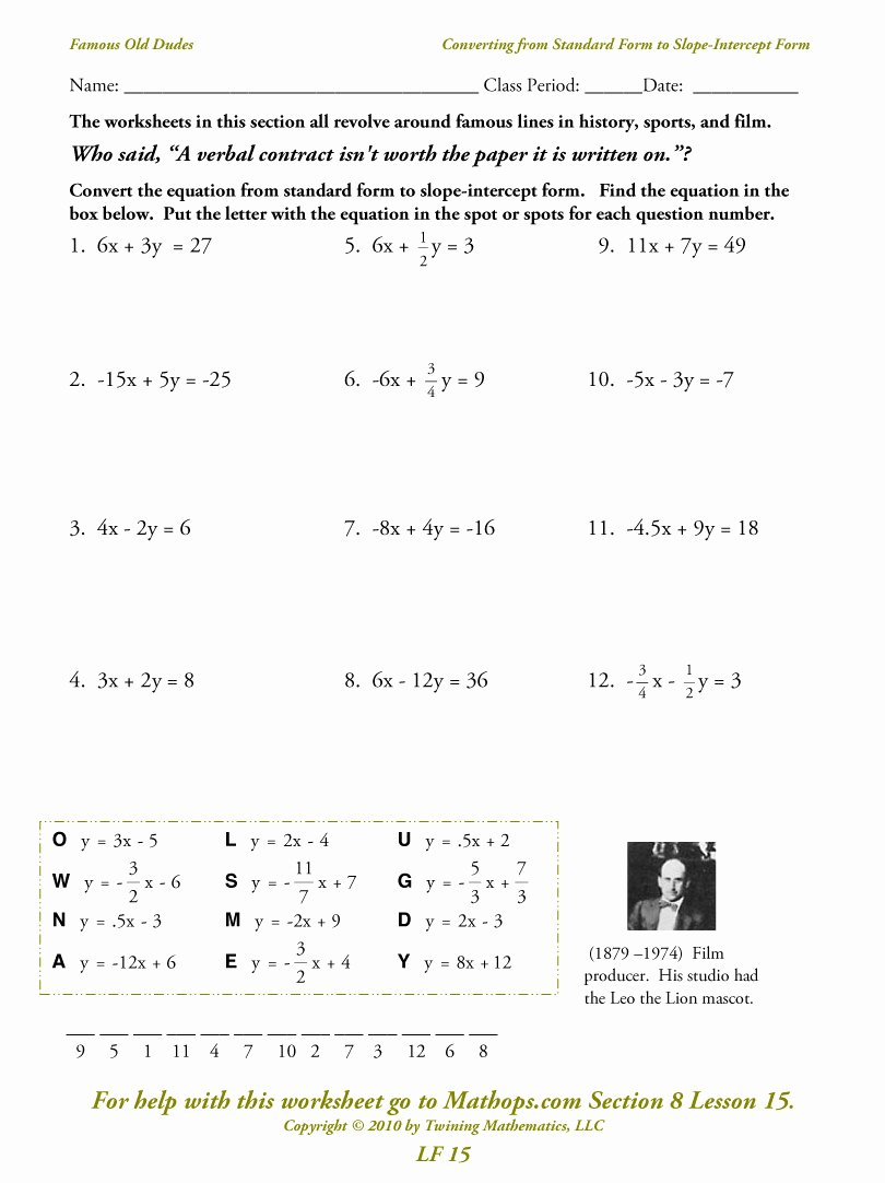 Point Slope form Practice Worksheet Elegant My Downloads Slope Intercept to Standard form Converter