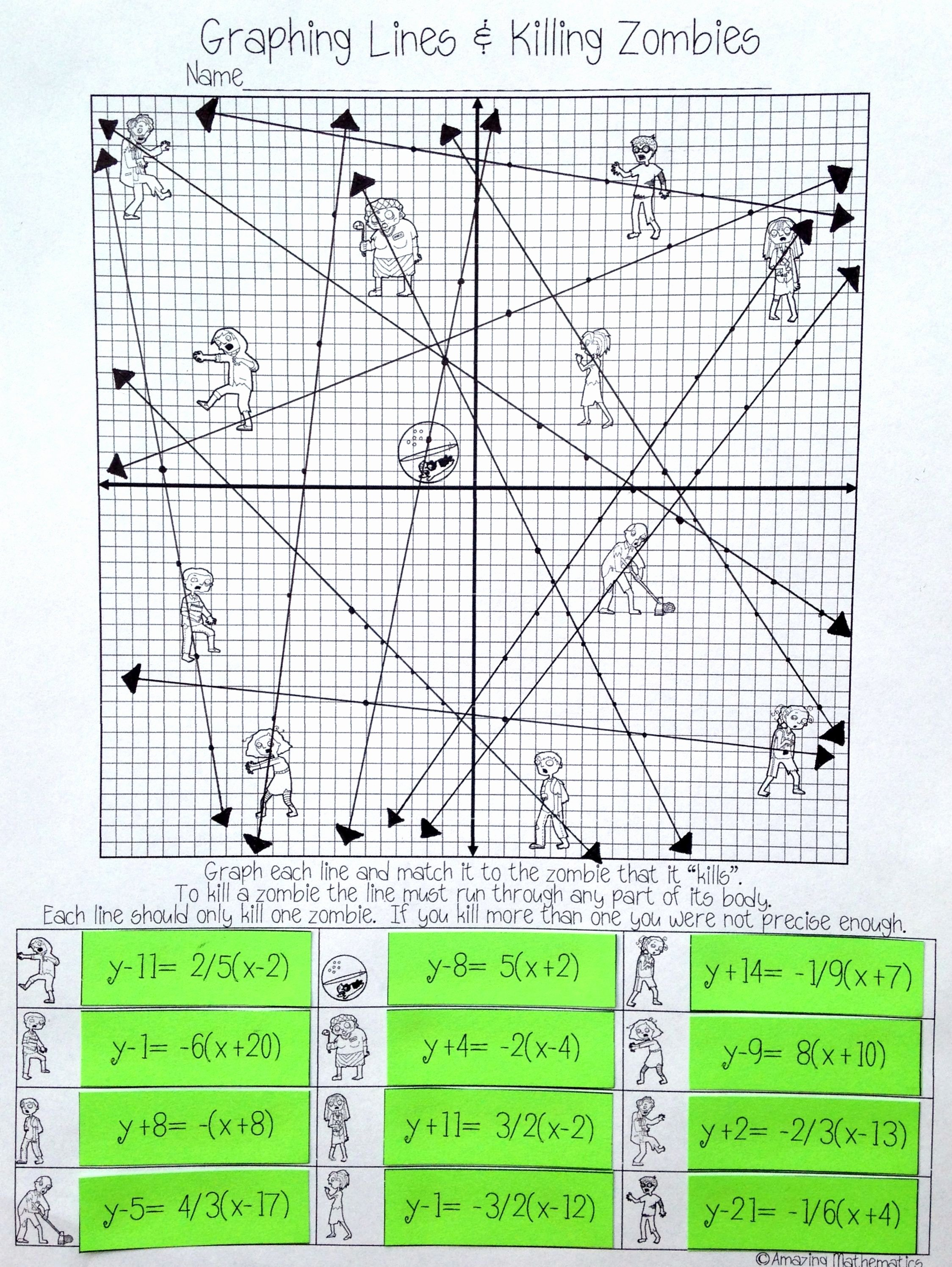 Point Slope form Practice Worksheet Fresh Graphing Lines & Zombies Point Slope form