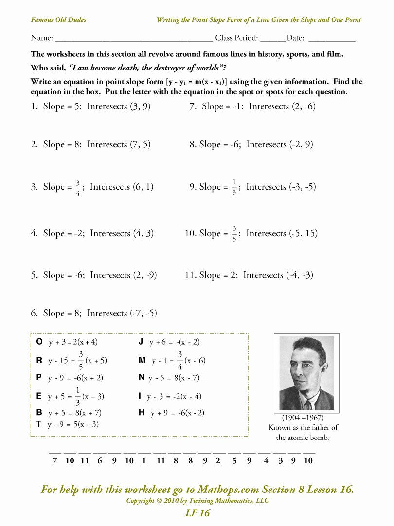 Point Slope form Practice Worksheet Luxury Linear Equations and their Graphs Homework Help