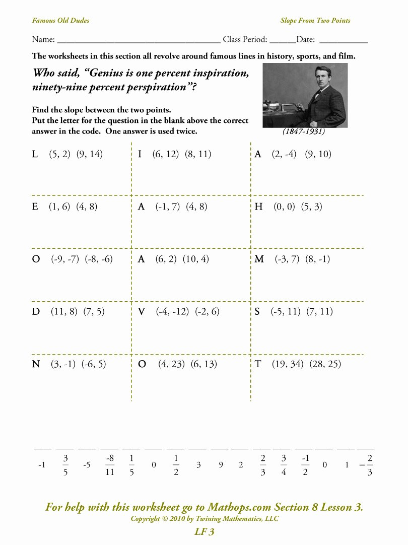 Point Slope form Worksheet Awesome Algebra Worksheet New 112 Algebra Worksheets Point Slope form