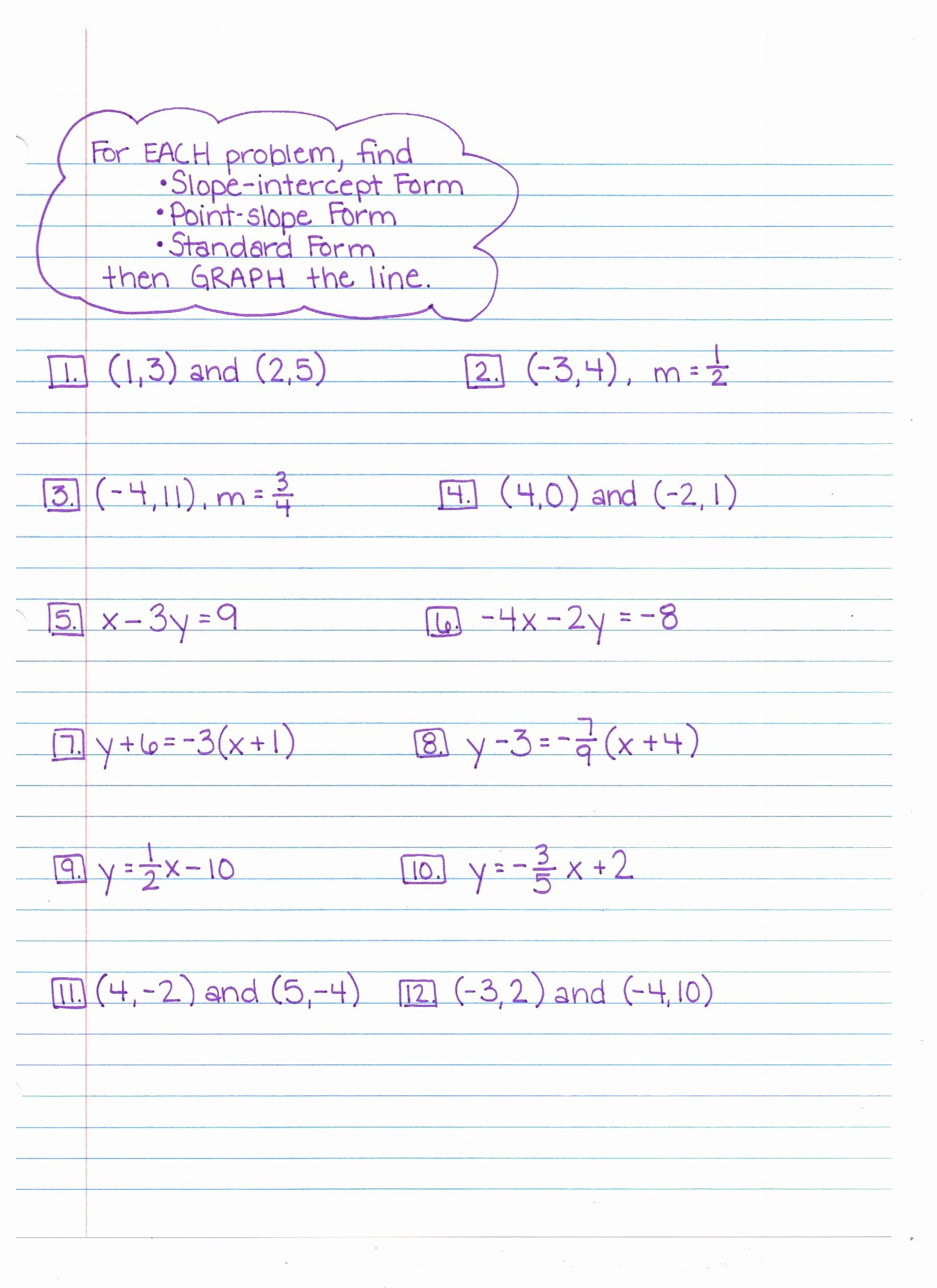 Point Slope form Worksheet Beautiful Algebra Worksheet New 112 Algebra Worksheets Point Slope form