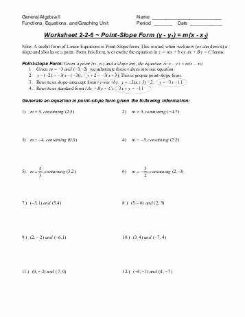 Point Slope form Worksheet Beautiful Point Slope form Worksheet