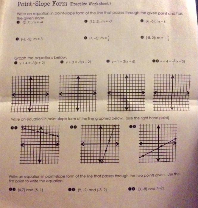 Point Slope form Worksheet Best Of solved Point Slope form Practice Worksheet Write An Equ