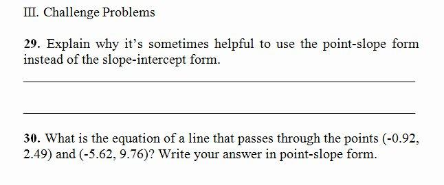 Point Slope form Worksheet Elegant Point Slope form Worksheet