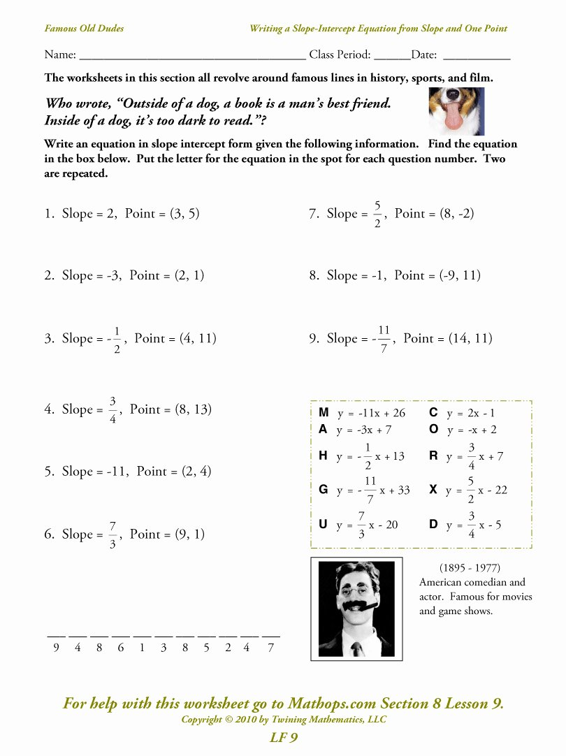 Point Slope form Worksheet Fresh Lf 9 Writing A Slope Intercept Equation From the Slope
