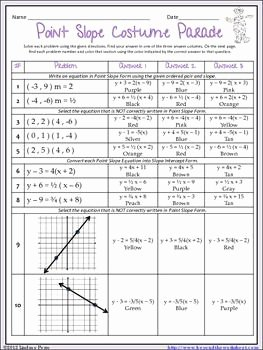 Point Slope form Worksheet Inspirational Writing Equations In Point Slope form Coloring Worksheet
