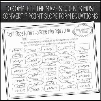 Point Slope form Worksheet Lovely Converting Point Slope form to Slope Intercept form Maze