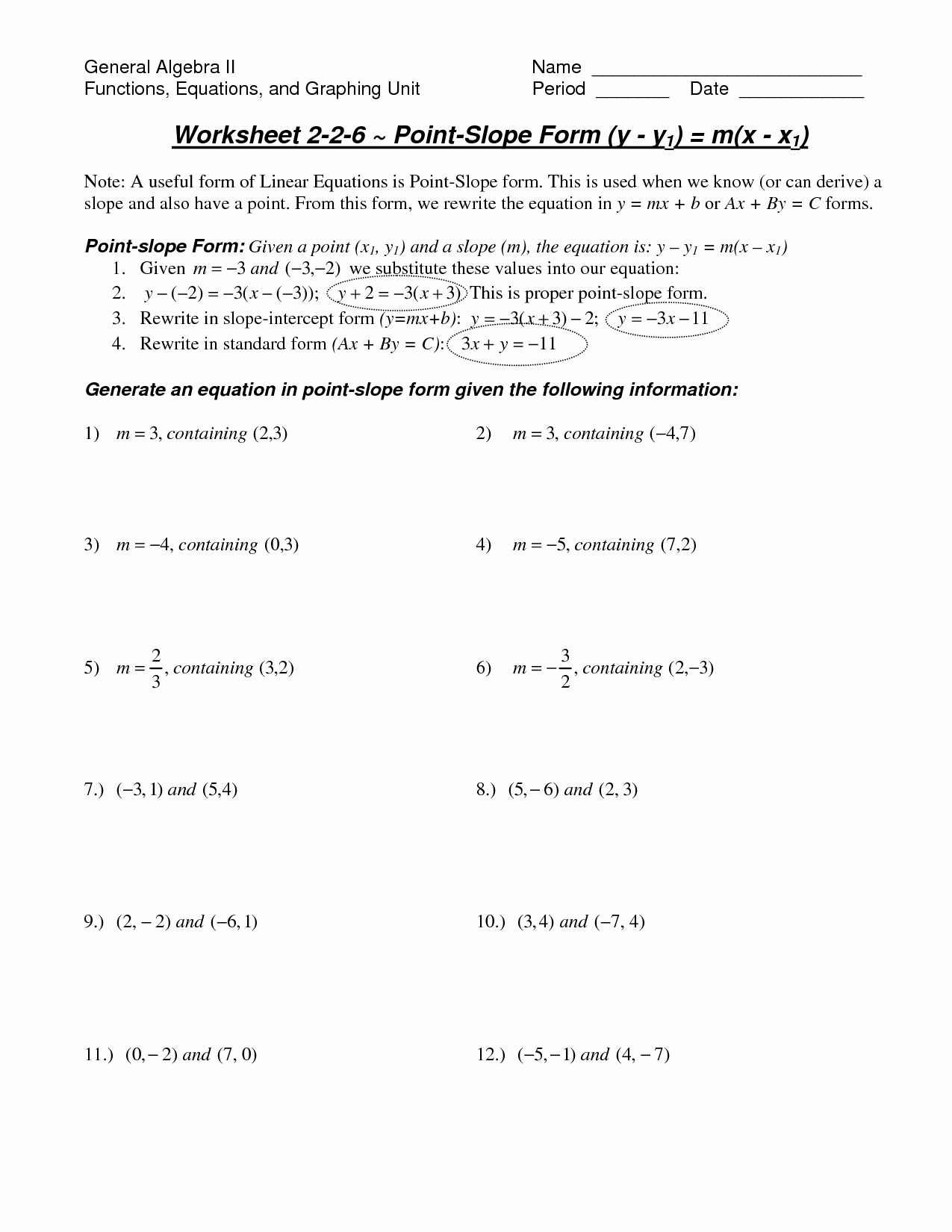 Point Slope form Worksheet Luxury Math Worksheet Slope