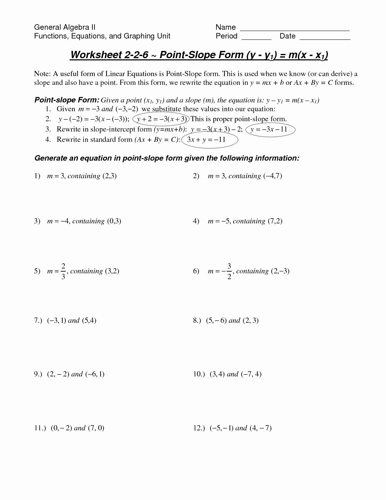 Point Slope form Worksheet Luxury Math Worksheet Slope
