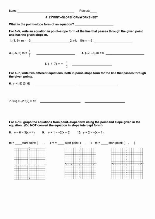 Point Slope form Worksheet Luxury Point Slope form Worksheet Printable Pdf
