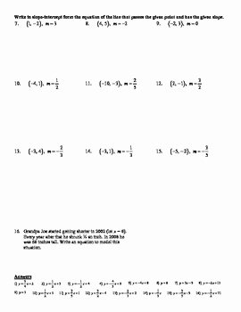Point Slope form Worksheet Unique Holt Algebra 5 6a Point Slope form Given A Point and