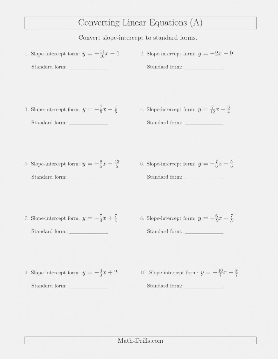Point Slope form Worksheet Unique Slope Intercept form to Point Worksheet them them