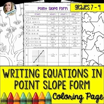 Point Slope form Worksheet Unique Writing Equations In Point Slope form Coloring Worksheet