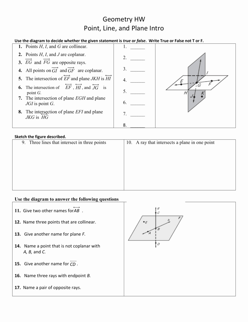 Points Lines and Planes Worksheet Awesome 1 1 Points Lines and Planes Worksheet Answers