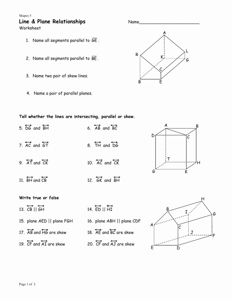 Points Lines and Planes Worksheet Fresh 1 1 Points Lines and Planes Worksheet Answers