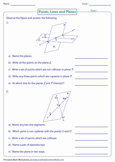 Points Lines and Planes Worksheet Fresh Points Lines and Planes Worksheets