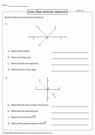 Points Lines and Planes Worksheet Inspirational Lines Rays and Line Segments Worksheets