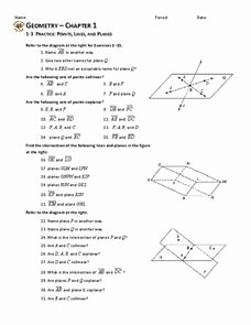 Points Lines and Planes Worksheet Luxury Coplanar Collinear Lesson Plans & Worksheets Reviewed by