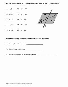 Points Lines and Planes Worksheet Luxury Geometry Worksheet Points Lines and Planes by My
