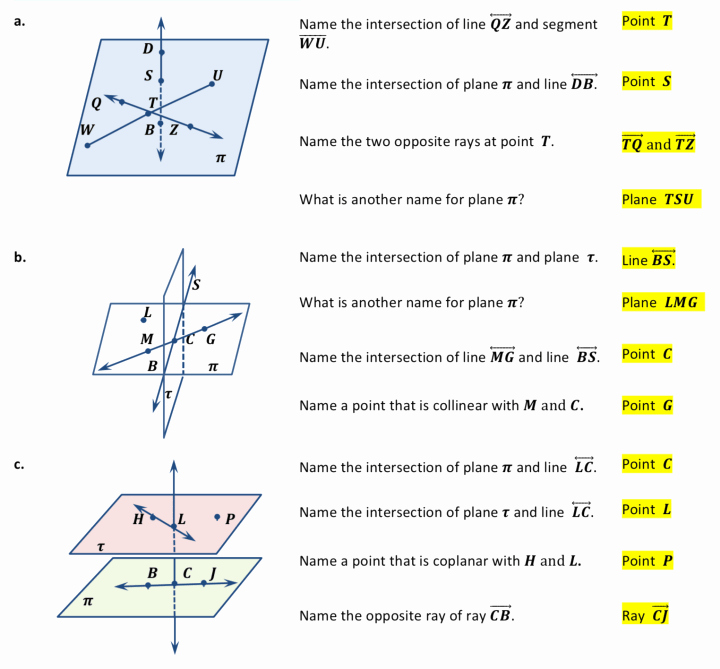 Points Lines and Planes Worksheet New Points Lines and Planes Worksheets ⋆ Geometrycoach
