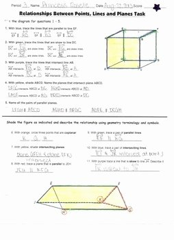 Points Lines and Planes Worksheet Unique Geometry [task] Points Lines and Planes Color Coded