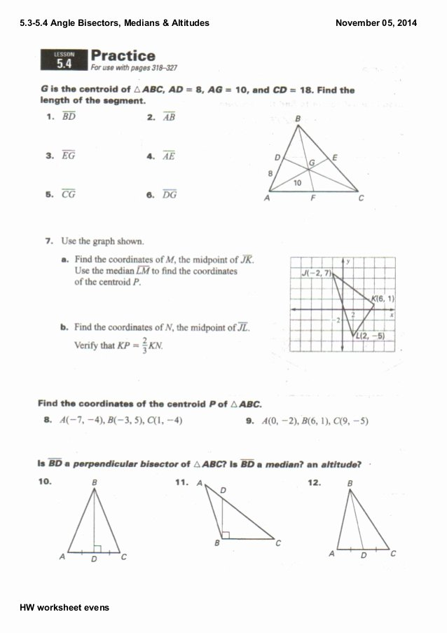 Points Of Concurrency Worksheet Answers Awesome 5 3 5 4 Notes