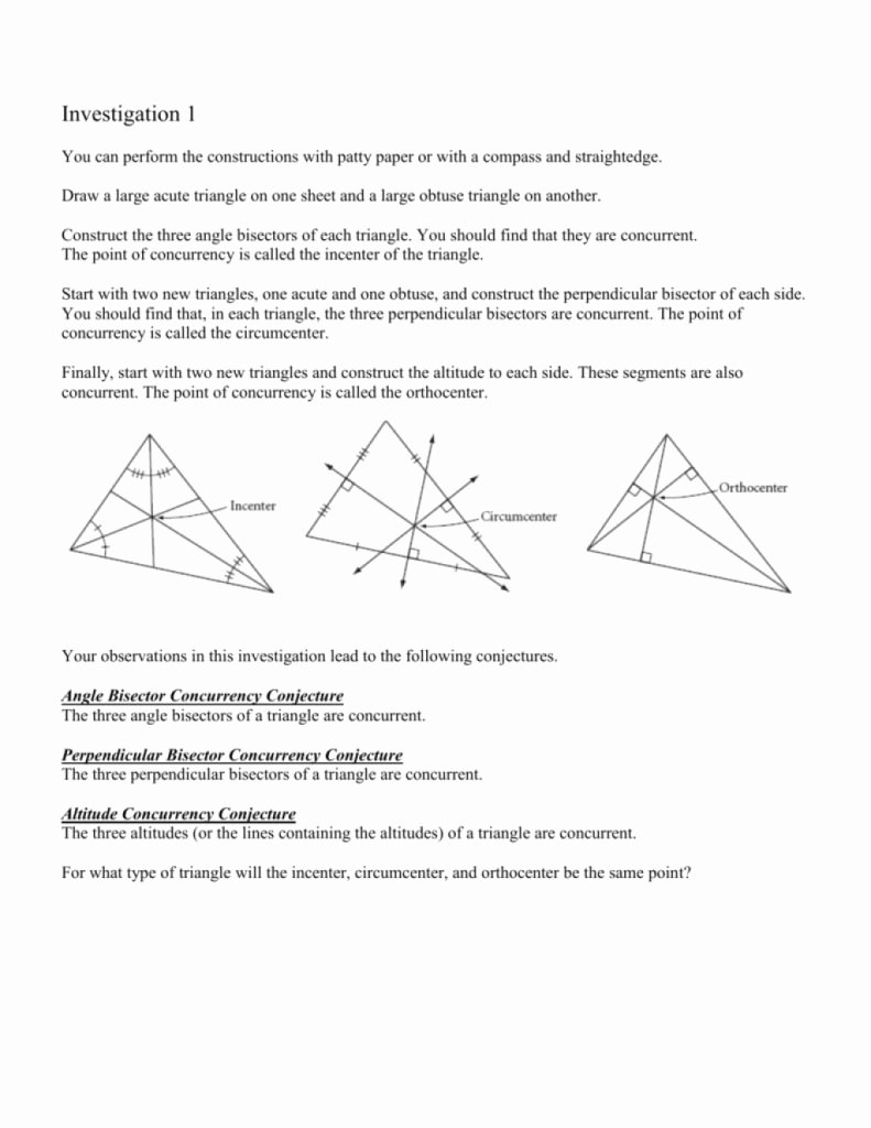 Points Of Concurrency Worksheet Answers Beautiful Amazing You Can Perform the Constructions with Patty Paper